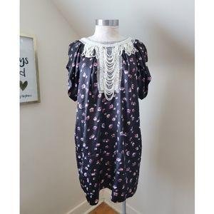 BOOHOO DINA Pearl Neck trim dress #A5